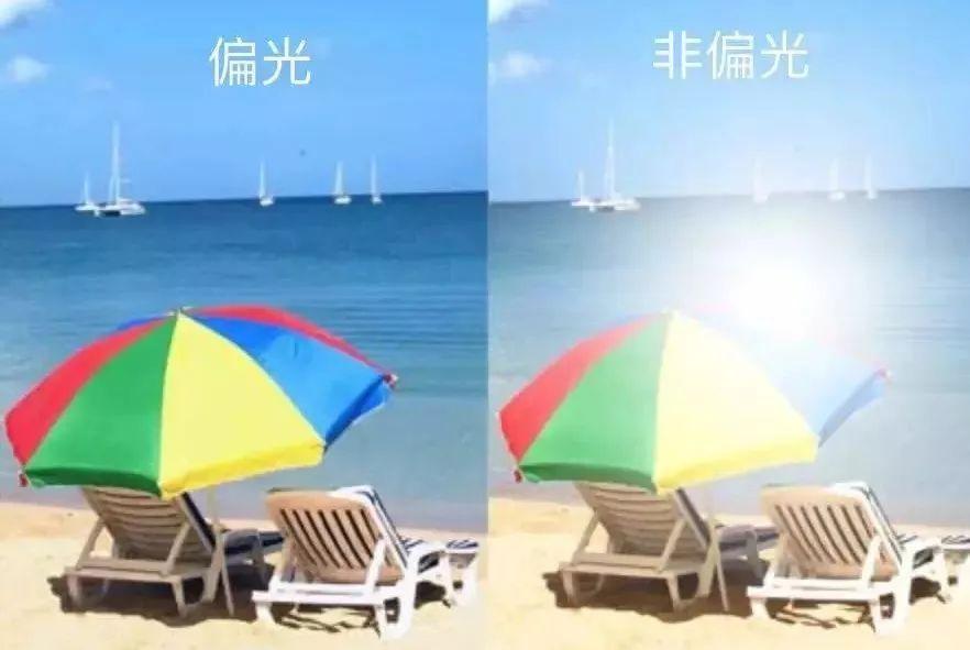 偏光镜与普通太阳镜效果对比图