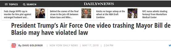 特朗普在空军一号上录视频diss纽约市长,美媒:你可能违法了