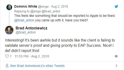 苹果设备被曝存在PEAP认证漏洞,研究人员对官方修复方案存疑
