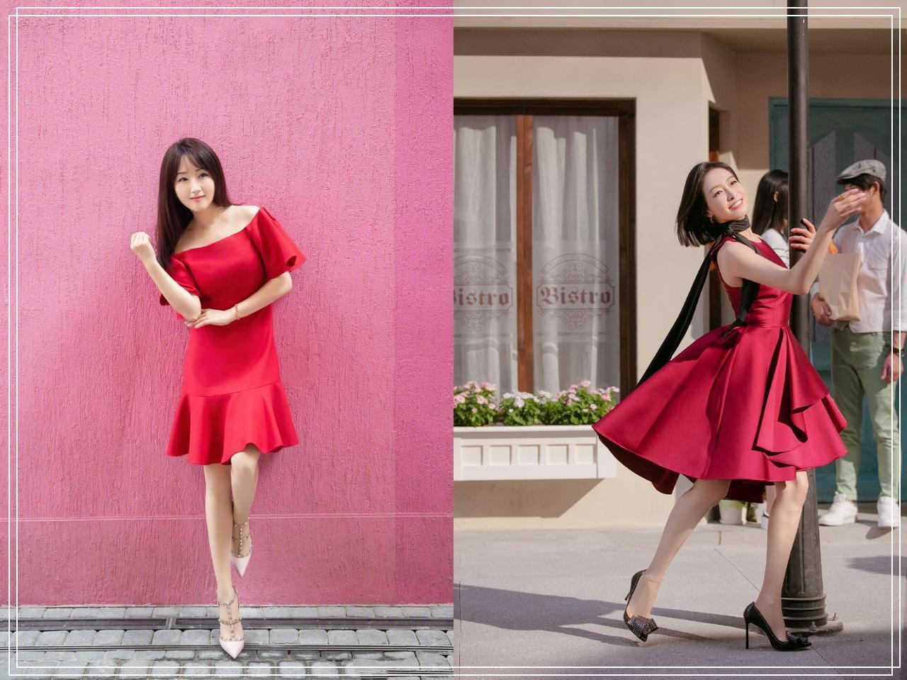 【穿搭技巧】48岁还有婴儿肌和牙签腿,一袭红裙穿的比宋茜还少女,杨钰莹绝了!