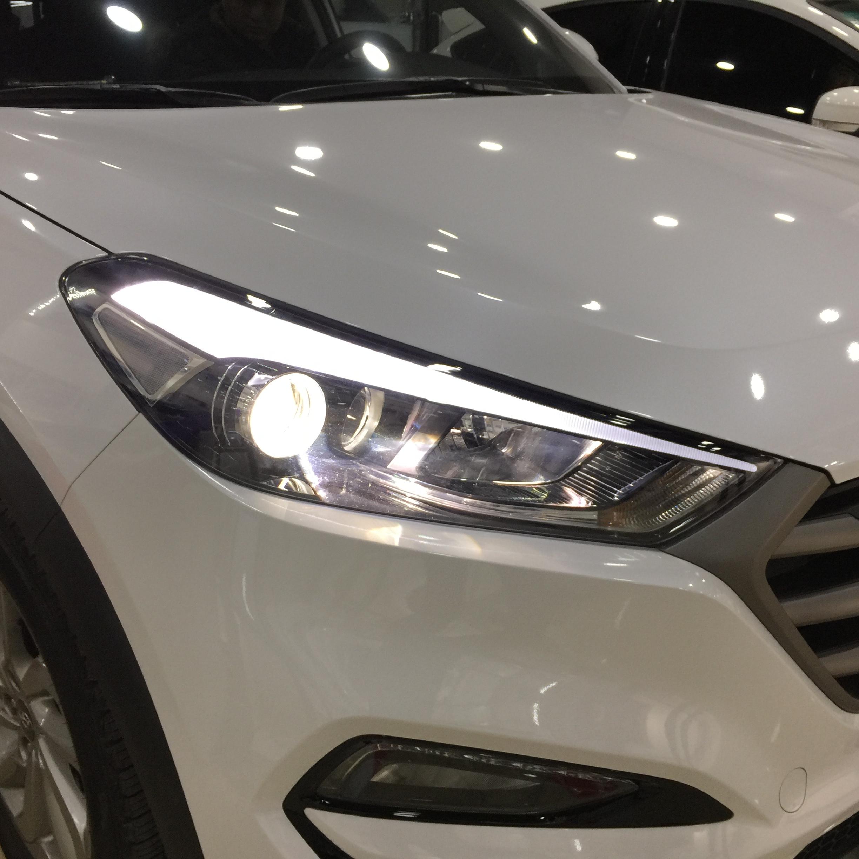 现代途胜汽车大灯改装LED灯泡氙气灯做不一样的