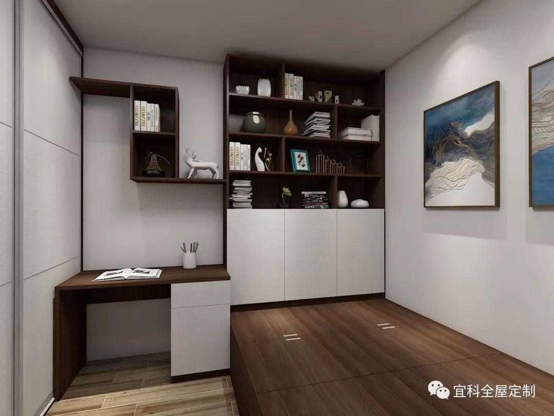 如果只是两房两厅的格局,又贪心地想要一个书房,用榻榻米就能实现一房图片