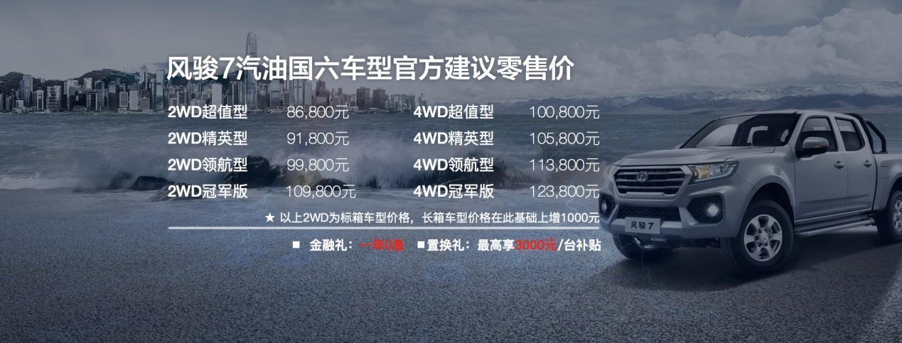 一步到位国六B 全新汽油风骏7上市8.68万起售