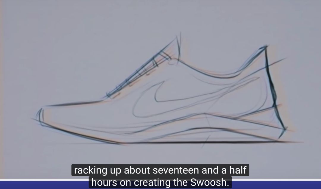 而罗琳戴维森本人在设计 nike 专属 logo 标志的过程是通过将一些可取的 nike 设计素描 logo 添加在已绘画的鞋款上,由此排列对比出最合适的 nike logo 标志.