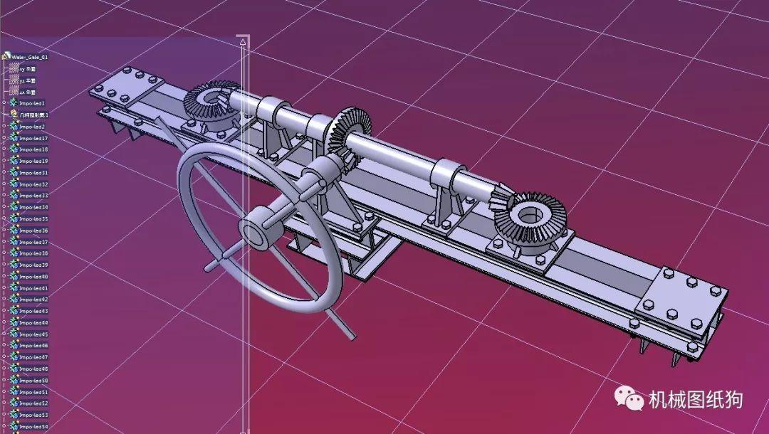 【工程机械】水闸开关结构3d数模图纸 step格式