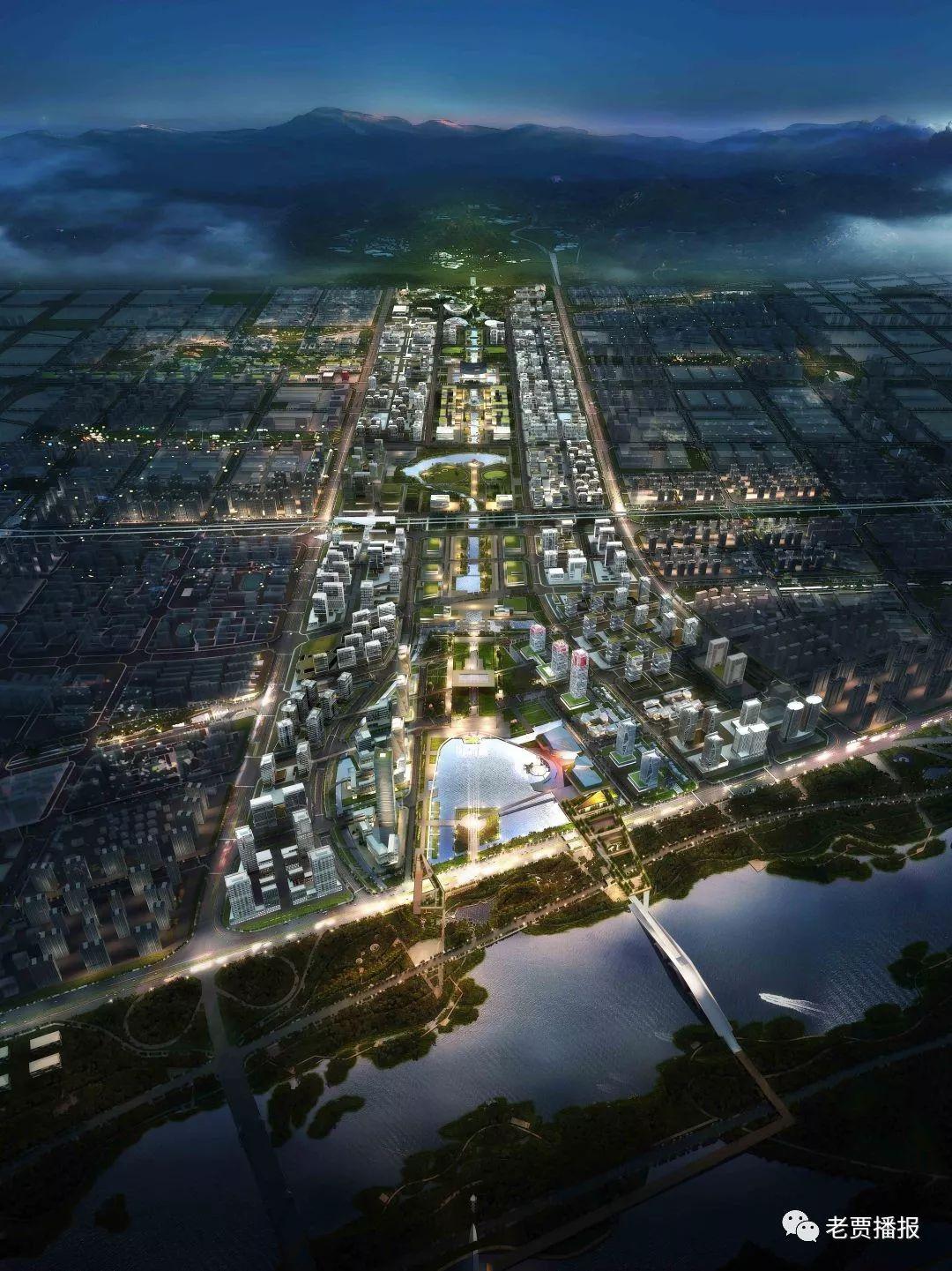 伊滨新区规划图,可以看到明显的中轴