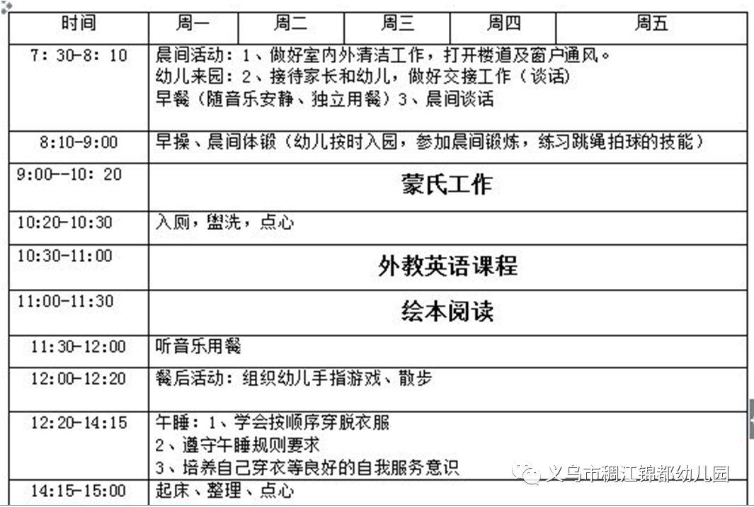 锦都豪苑幼儿园2019暑期课程表图片