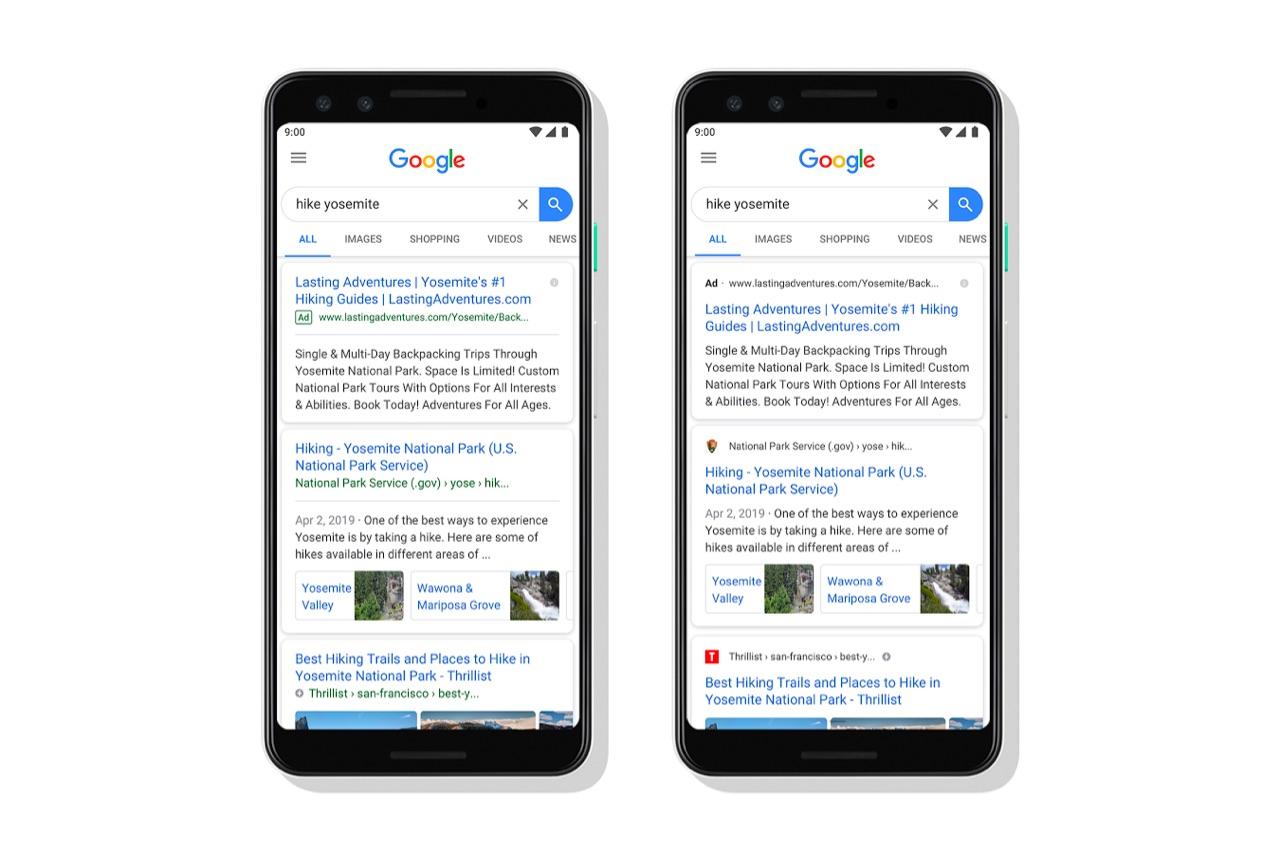 谷歌正在更新其移动搜索设计,以突出显示网站的名称和图标