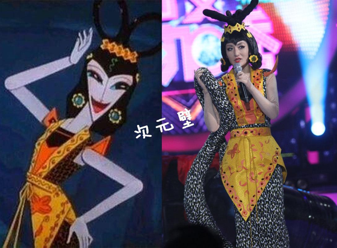 谢娜cosplay的蛇精同样非常传神,无论是发型还是身上的服装,都可以图片
