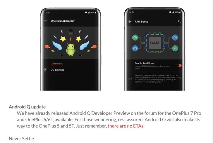 一加7 Pro升级安卓Q Beta,一加5/5T也将更新