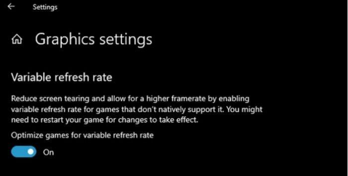 Windows 10 May 2019能为指定游戏提供可变刷新率