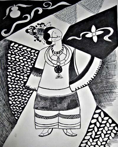 手绘点线面黑白装饰画 美天手绘