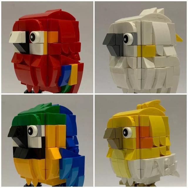 四只色彩斑斓的乐高鹦鹉也都是采用大头风格设计 乐高积木,创意无限图片