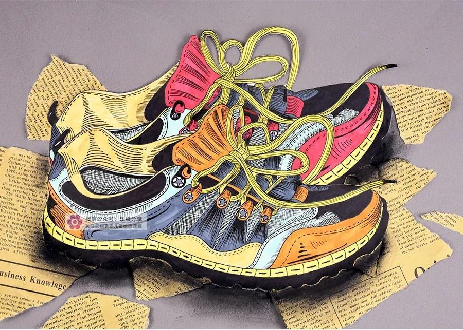 创意儿童画|一双鞋子的写生图片