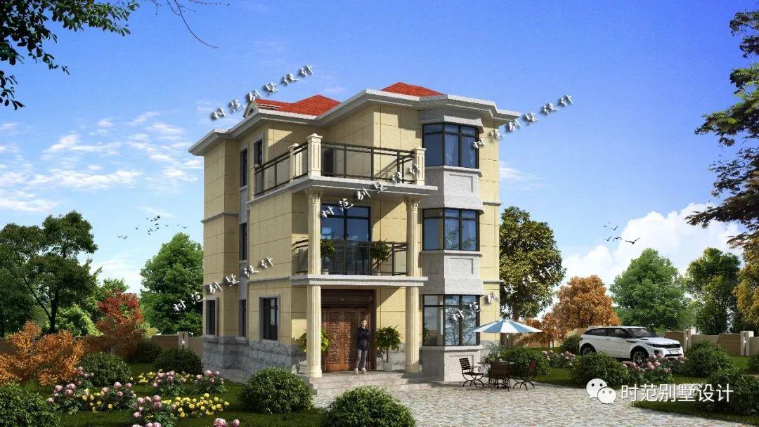 8米小面宽占地93平,主体30万开建,8室3卫,农村建房就选这一款