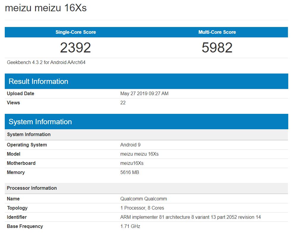 魅族16Xs跑分曝光:6GB运存、骁龙712确认