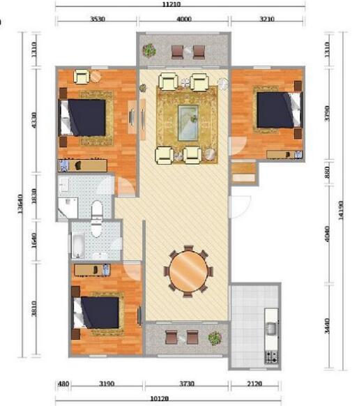 房子平面图,户型方正,三居室设计,算是比较标准的.图片