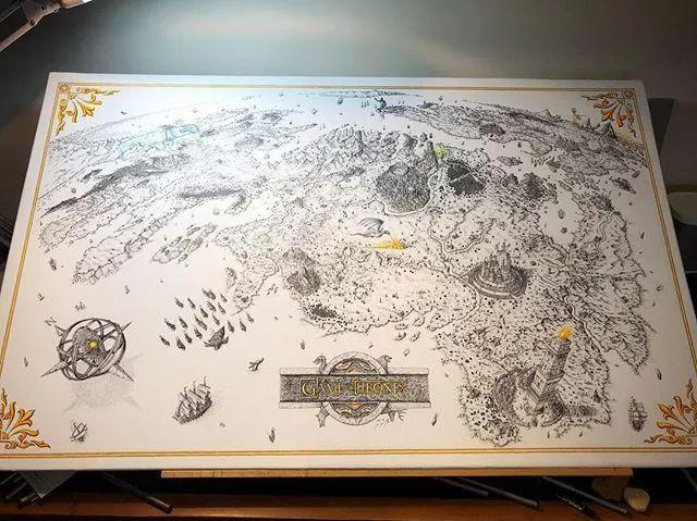 这位 丧心病狂 的手绘大神,用2块钱的针管笔画出堪比影视场景的权游地图