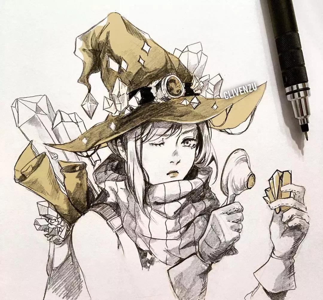 铅笔手绘古风人物线稿