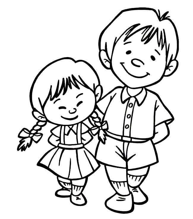 哥哥妹妹人物简笔画步骤图片大全,儿童简笔画幼儿简笔画简笔画图片