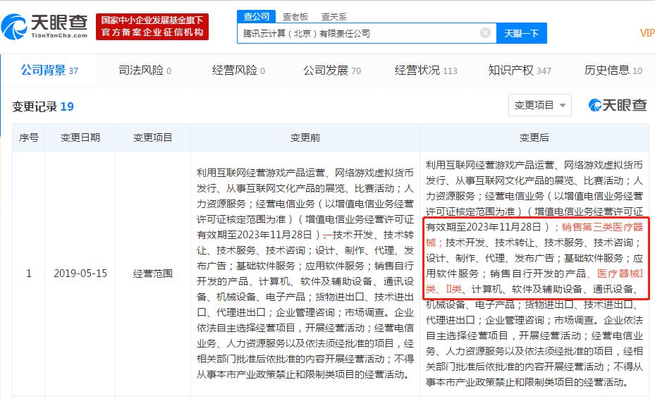 腾讯云计算公司新增销售医疗器械业务