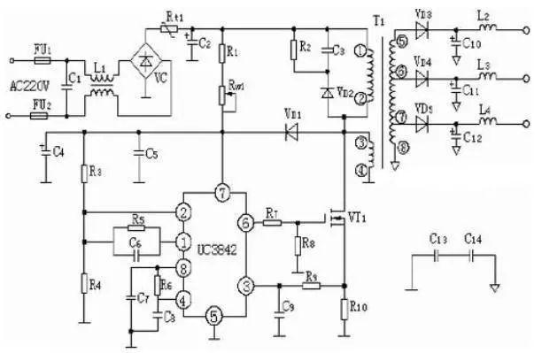 2,top224p构成的12v,20w开关直流稳压电源电路图片