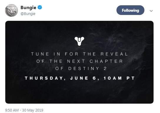 《命运2》将于6月7日公布新篇章 分家后首次披露新内容