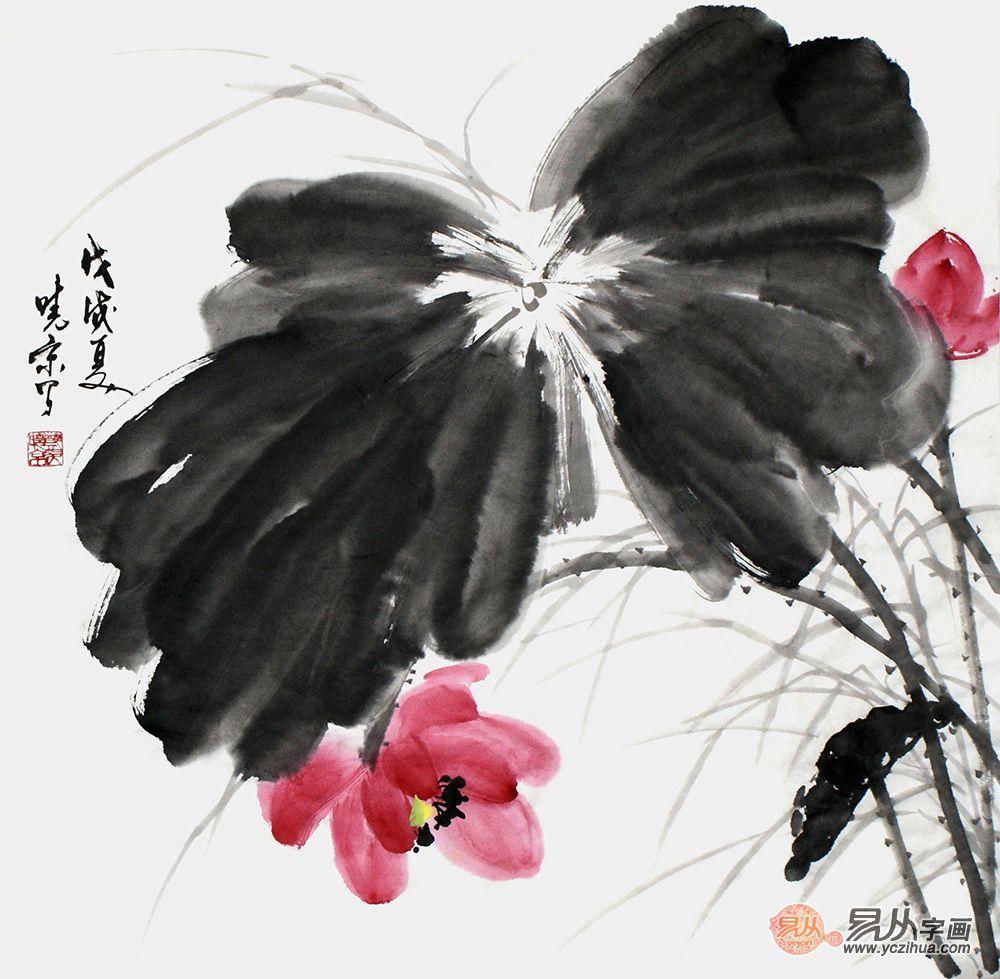 郑晓京作品《红荷》(作品选自:易从网)