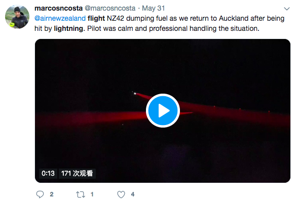 又是波音!新西兰航空一客机被闪电击中,起飞30分钟后被迫返航