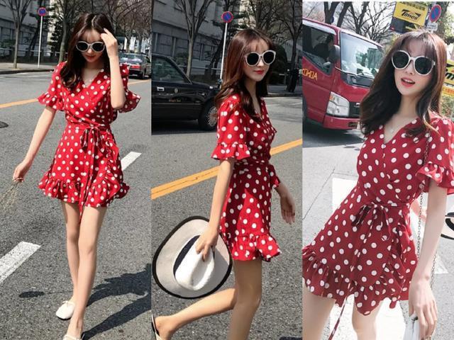 Polka dot vintage French dress
