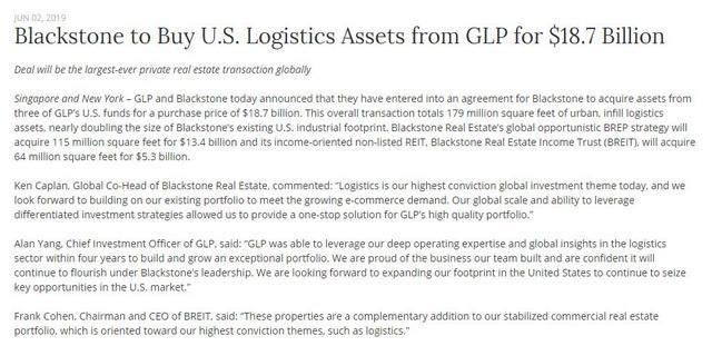 187亿美元!史上不动产交易最大单!黑石收购普洛斯在美业务
