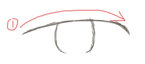 第一步先画一条弯曲的线,然后补上眼球,但是注意,眼球底下那条线不要填上.