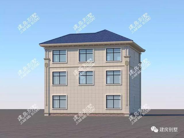 宽11米多的三层自建房,简欧式外观设计,使用落地窗很气派