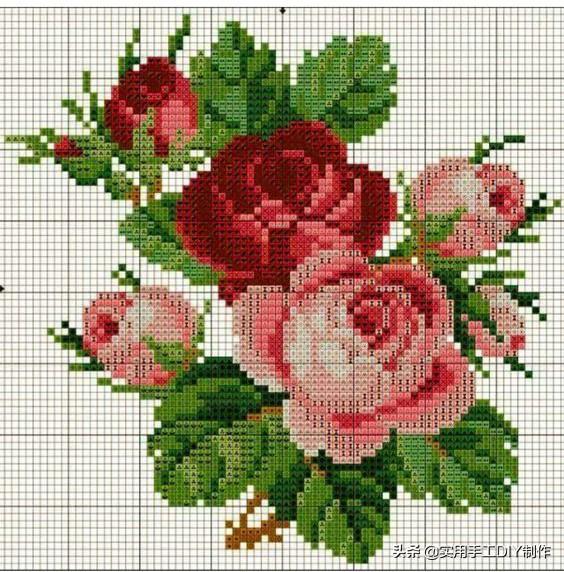玫瑰花清晰十字绣图纸图片分享