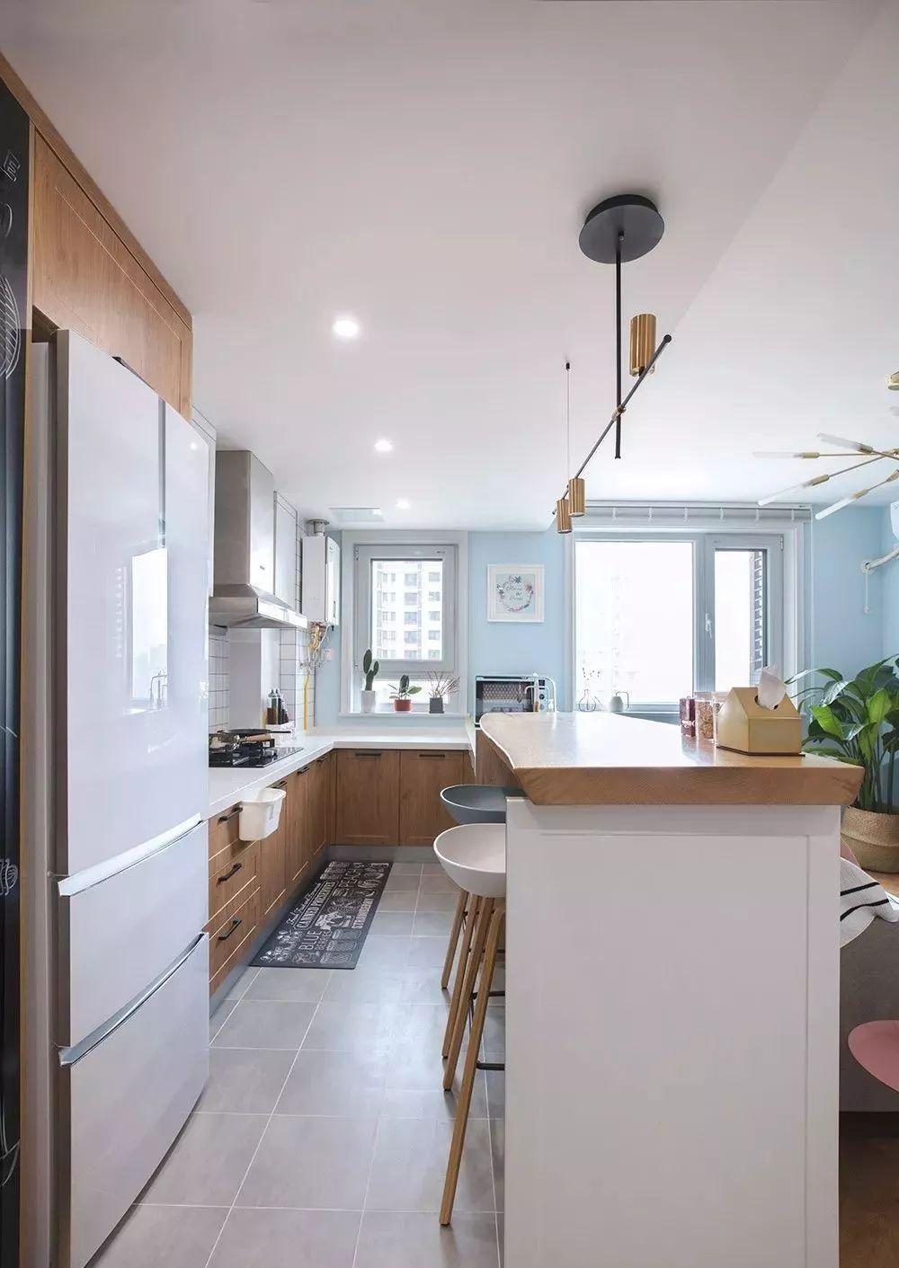 63㎡小户型装修,开放式厨房 吧台设计,轻松变大且不乱图片