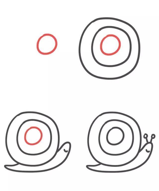 字母o简笔画蜗牛的画法图片