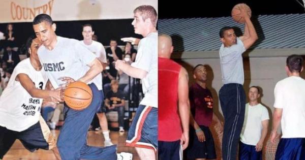 奥巴马现身NBA总决赛 黑色皮衣气场十足
