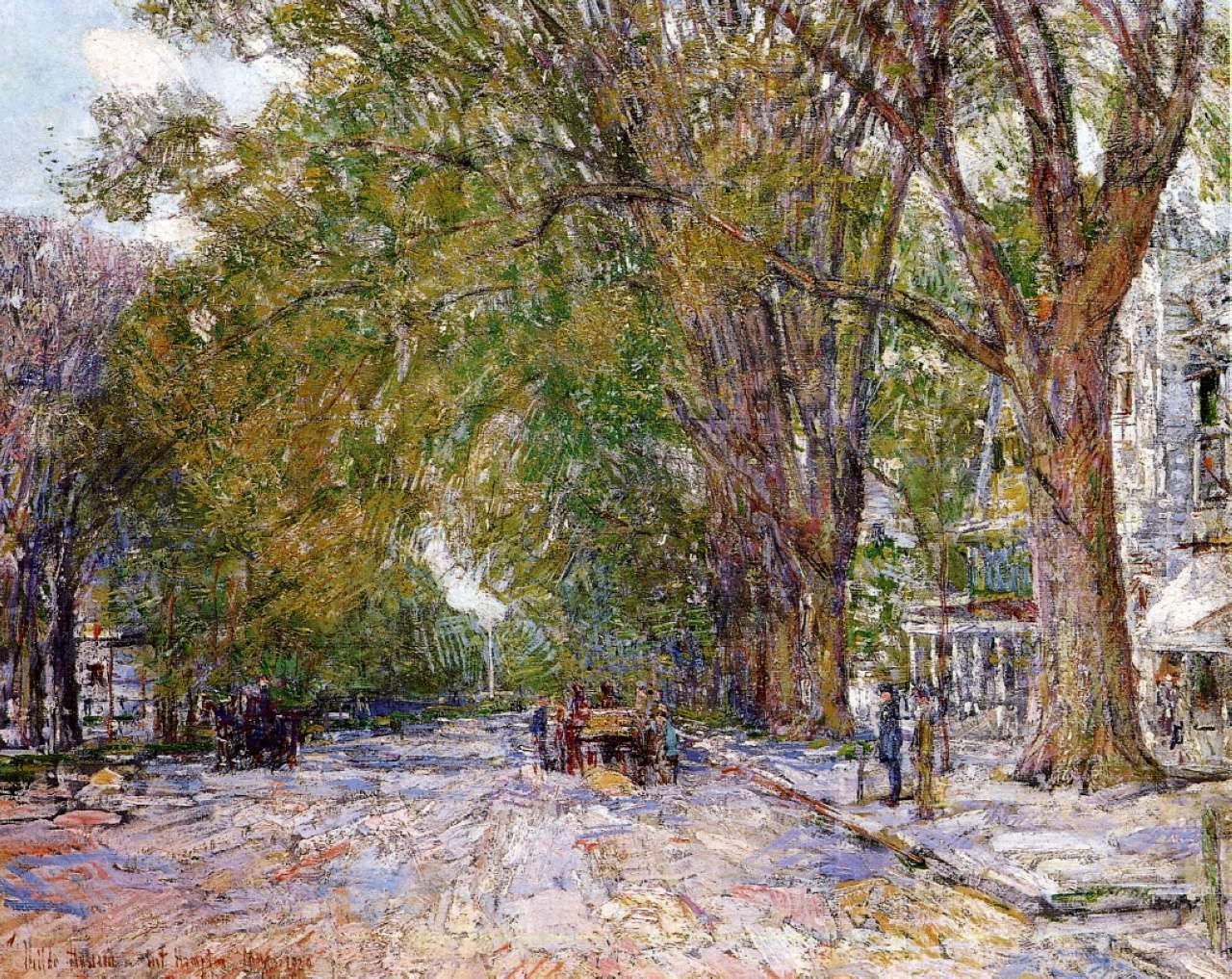 美国画家印象主义画派的代表人物施尔德 哈森图片