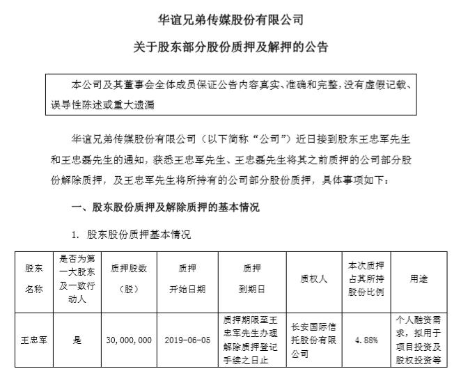 华谊王忠军质押3000万股用于个人融资,年内质押9300万股市值4.7亿