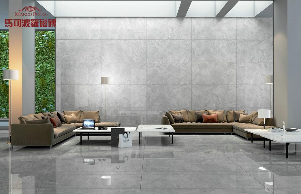 鱼肚灰瓷砖大板客厅装修效果图