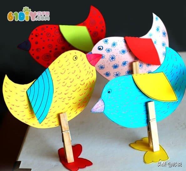 春天幼儿手工制作可爱的卡纸小鸟