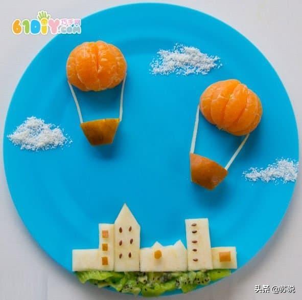 宝宝幼儿节日手工教程,橘子水果拼盘,宝妈亲子必备,父亲节收藏图片