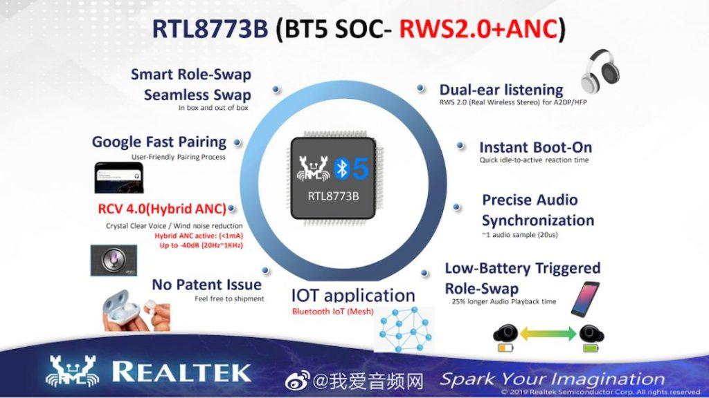 瑞昱推出全新TWS方案RTL8773B:支持主动降噪、蓝牙5-芯智讯