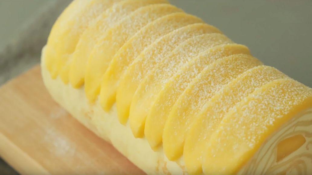 【甜品】最新款网红千层蛋糕来了:芒果千层卷