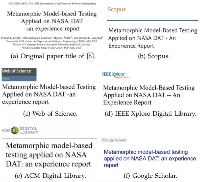 同一篇论文在不同数据库中的不同显示.图片来自论文.