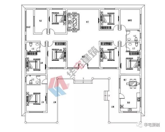 11米(含屋顶); 设计功能: 一层户型设计:堂屋,客厅,餐厅,厨房,卧室(带图片