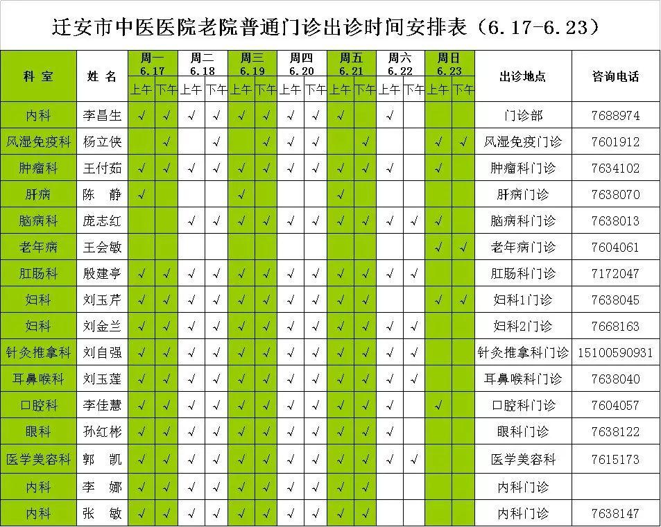 迁安市中医医院院内专家出诊时间安排表2019年6.17-6.