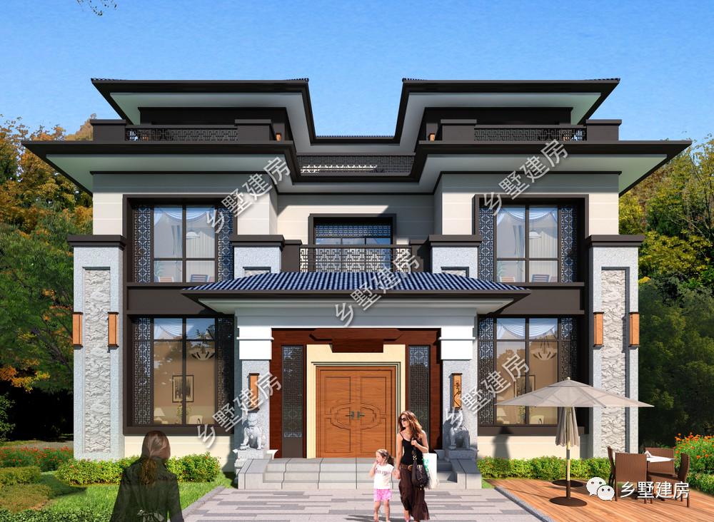 占地170平三层新中式别墅,依山傍水,农村建一栋正合适