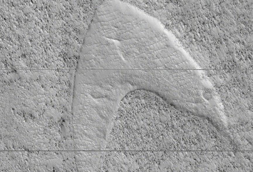 火星上惊现《星际迷航》LOGO 相似度高达90%,网友:难道是纪录片