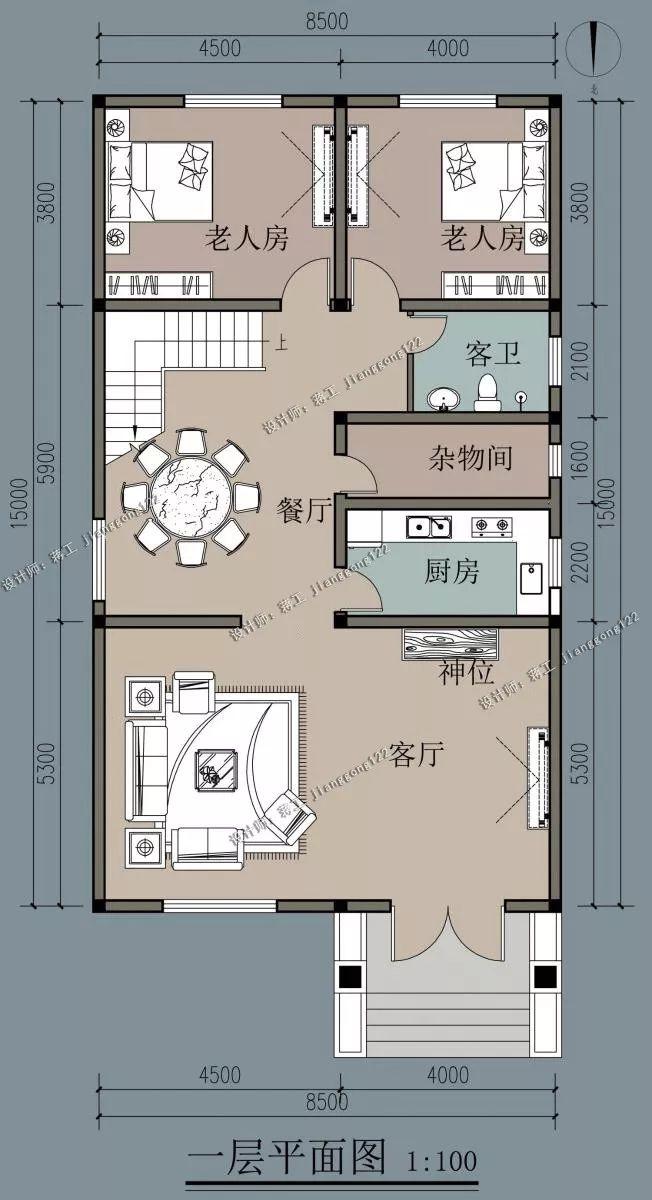 室内设计有堂屋,符合农村的生活需求,一层还设计有2间卧室,方便老人和图片